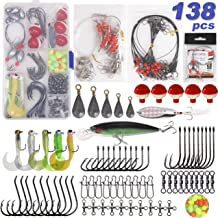 Saltwater Surf Fishing Tackle Kit -138pcs Leader Rigs Saltwater Lures Spoon Sinker Weights Floats Hooks Swivel Beach Fishing Gear