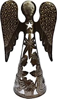 Haitian Nativity Scene, Angel, Haiti Metal Art, Angel Wings, Holiday Decor, Recycled 55 Gallon Oil Barrel 9 x 14.5 Inches