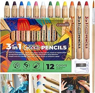 colozoo Crayons de Couleurs Enfants 3 en 1 Set de 12 Couleurs avec Brosse et Taille-Crayon   Couleurs Non Toxiques et véga...