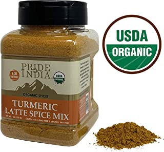 Pride Of India - Organic Turmeric Latte Spice - 7oz (200gm) Sifting Jar - Vegan 6 Spice Blend & Healthy Supplement - Instantly Make Perfect Golden Milk & Smoothies - No Fat/Sugar - Caffeine/Dairy Free