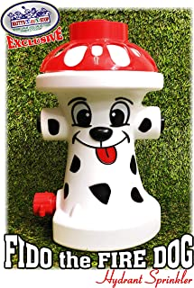 """Matty's Toy Stop FIDO The FIRE Dog Hydrant Water Sprinkler for Kids, Attaches to Standard Garden Hose & Sprays Up to 10 Feet High & 16 Feet Wide, Measures 10.75"""" High"""