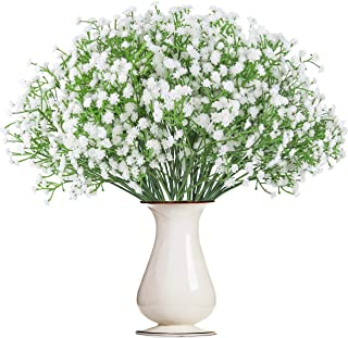 Bosslandy Babys Breath Artificial Flowers Gypsophila Bulk Baby's Breath Garland Fake Bule Bouquet of Flowers for Wedding 12 Pcs Faux Dried Baby's Breath Crown Silk Real Touch for Home Party (White)