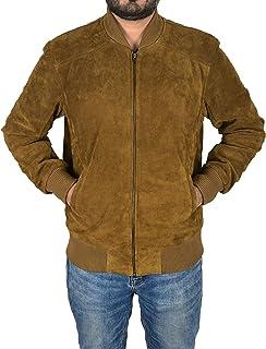 Men's Bomber Leather Jacket Khaki Suede Classic 70s Fashion Aviator Jacket 275-P