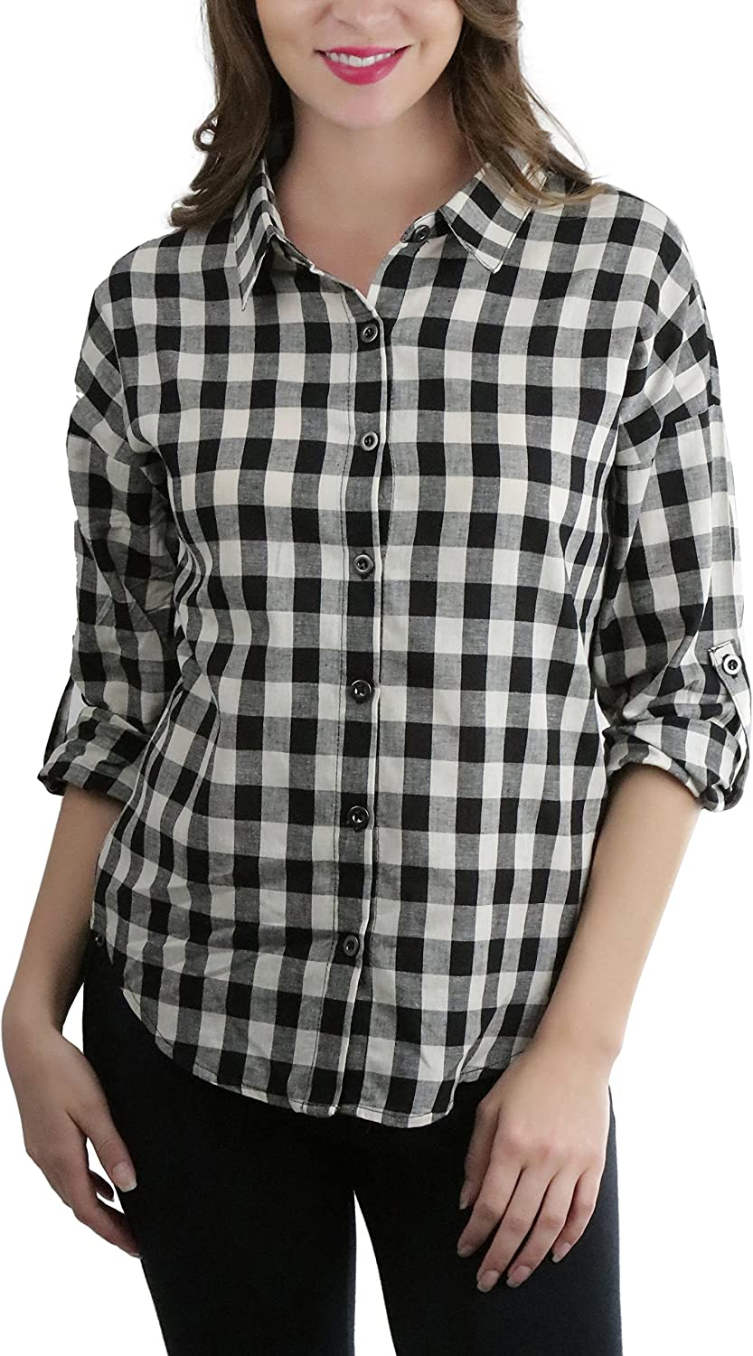 ToBeInStyle Women's Button Tab Roll up Sleeve Plaid Button Down Shirt
