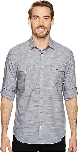 Calvin Klein Space-Dye Roll-Up Button Down Shirt