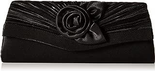 Damara Women's Satin Pleated Flower Front Evening Bag Clutch Handbag