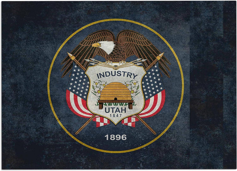 KESS InHouse Bruce Stanfield Vintage Utah Red bluee Dog Place Mat, 13 x18