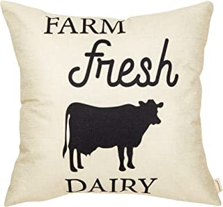 Fahrendom Rustic Farm Fresh Dairy Cow Vintage Country Style Retro Farmhouse Quote Gift Cotton Linen Home Decorative Throw Pillow Case Cushion Cover with Words for Sofa Couch 18 x 18 Inch