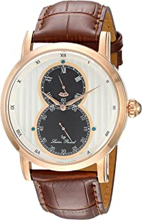 Lucien Piccard Men's 'Infinity' Quartz Stainless Steel and Leather  Watch, Color:Brown (Model: LP-40044-RG-02S)