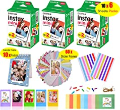 Fujifilm Instax Mini Film for Instant Camera (3 Twin Packs 60 Sheets White Film)+60 Sticker Frames +10 Paper Hanging Frames +5 Plastic Desk Frames +Standing Notebook Frames 10 Pockets + Corner Sticker