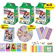 Fujifilm Instax Mini Film for Instant Camera (3 Twin Packs 60 Sheets White Film)+60 Sticker...
