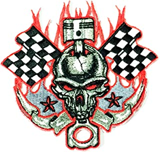 Patch Portal Skull Fire Red Flame Checkered Flag Racing Star Piston Emblem Patch 4 Inches Biker Rocker Motorcycle Race Emb...