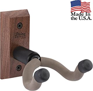 String Swing CC01K-BW Guitar Hanger and Guitar Wall Mount Bracket Holder for Acoustic and Electric Guitars Black Walnut