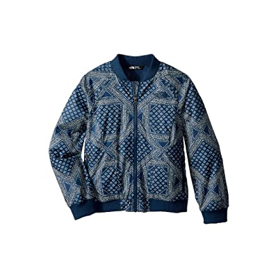 The North Face Kids Flurry Wind Bomber Jacket (Little Kids/Big Kids) (Blue Wing Teal Bandana Print/TNF White (Prior Season)) Girl