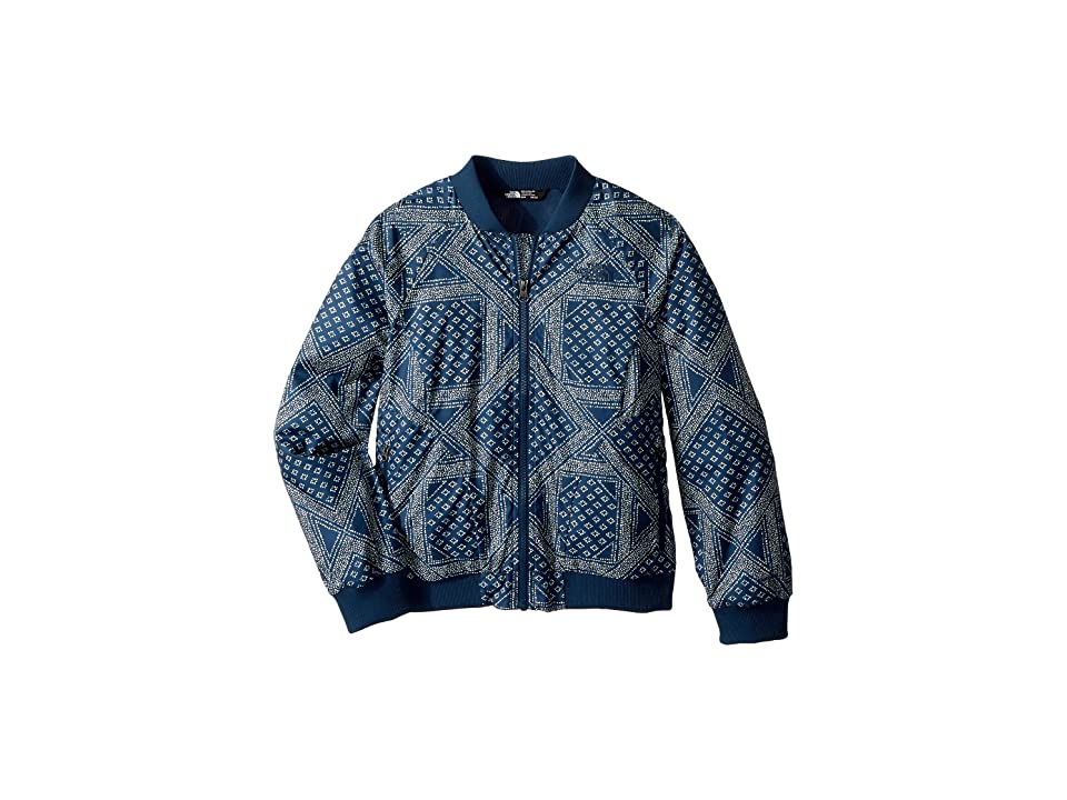 The North Face Kids Flurry Wind Bomber Jacket (Little Kids/Big Kids) (Blue Wing Teal Bandana Print/TNF White) Girl