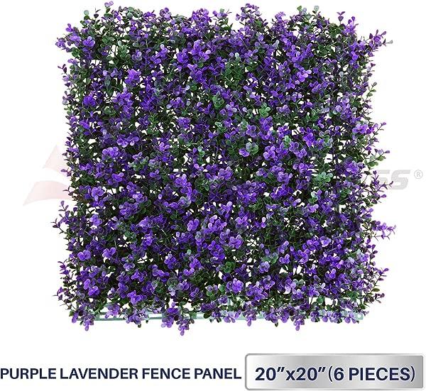 Windscreen4less 20 X 20 Artificial Purple Lavender Outward Fence Panel 6 Pcs