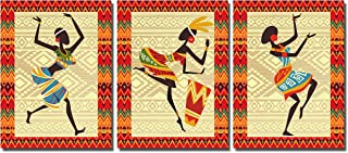 Poylaamo, Colorful Tribal Dance Modern Art Wall Painting for Living Room Framed on MDF Board. Size 12X9 Inches each.