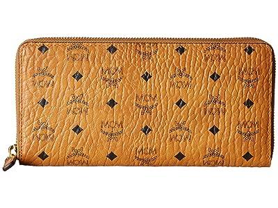 MCM Visetos Original Zip Around Wallet (Cognac) Wallet Handbags