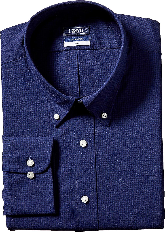 IZOD Men's BIG FIT Dress Shirt Stretch Check (Big and Tall)