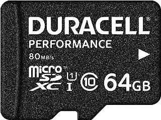 Duracell Performance 64GB microSDXC Class 10 UHS I Speicherkarte, bis zu 80 MB/Sek