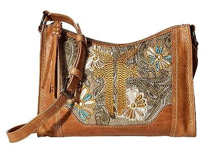 Frye Melissa Embroidery Zip Crossbody (Beige Multi) Handbags