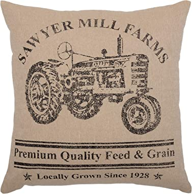 VHC Brands Sawyer Mill Bedding Accessory, Pillow 18x18, Tractor Charcoal