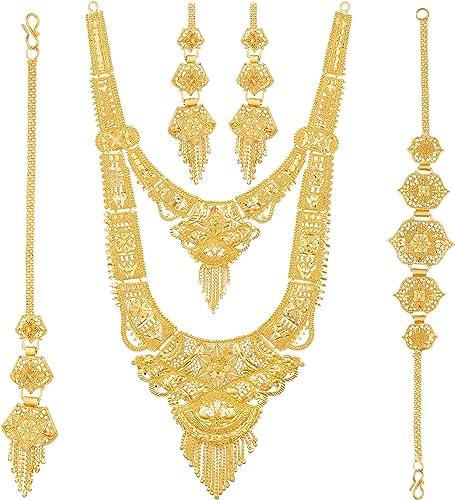 Party One Gram Gold Wax Forming Work Premium Rani Haar Juelry Jwelery Jualary Long Neckalce Jewellery Set For Women 10 5 Inch Long