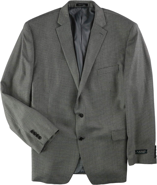 Ralph Lauren Mens Tic Weave Two Button Blazer Jacket, Grey, 52 Long