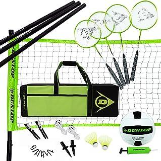 بازی چمن بازی والیبال DUNLOP والیبال بدمینتون: 11- پارتی در فضای باز حیاط خلوت 11 قطعه با کیف حمل