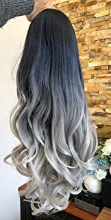 24 Inches No Front Parting Half Head Wig Long OMBRE 3/4 Weave Brown Blonde (Wavy- Natural black/grey)