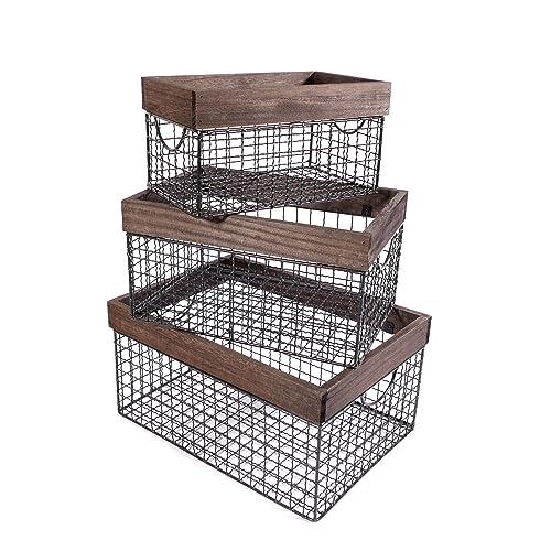 Beau SLPR Wooden Top Wire Storage Baskets (Set Of 3, Dark Wood) | Organizer