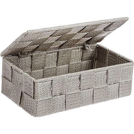 Wenko Adria 22572100 Boîte rangement Avec couvercle - Gris Taupe, Polypropylène, 18 x 10 x 6,5 cm