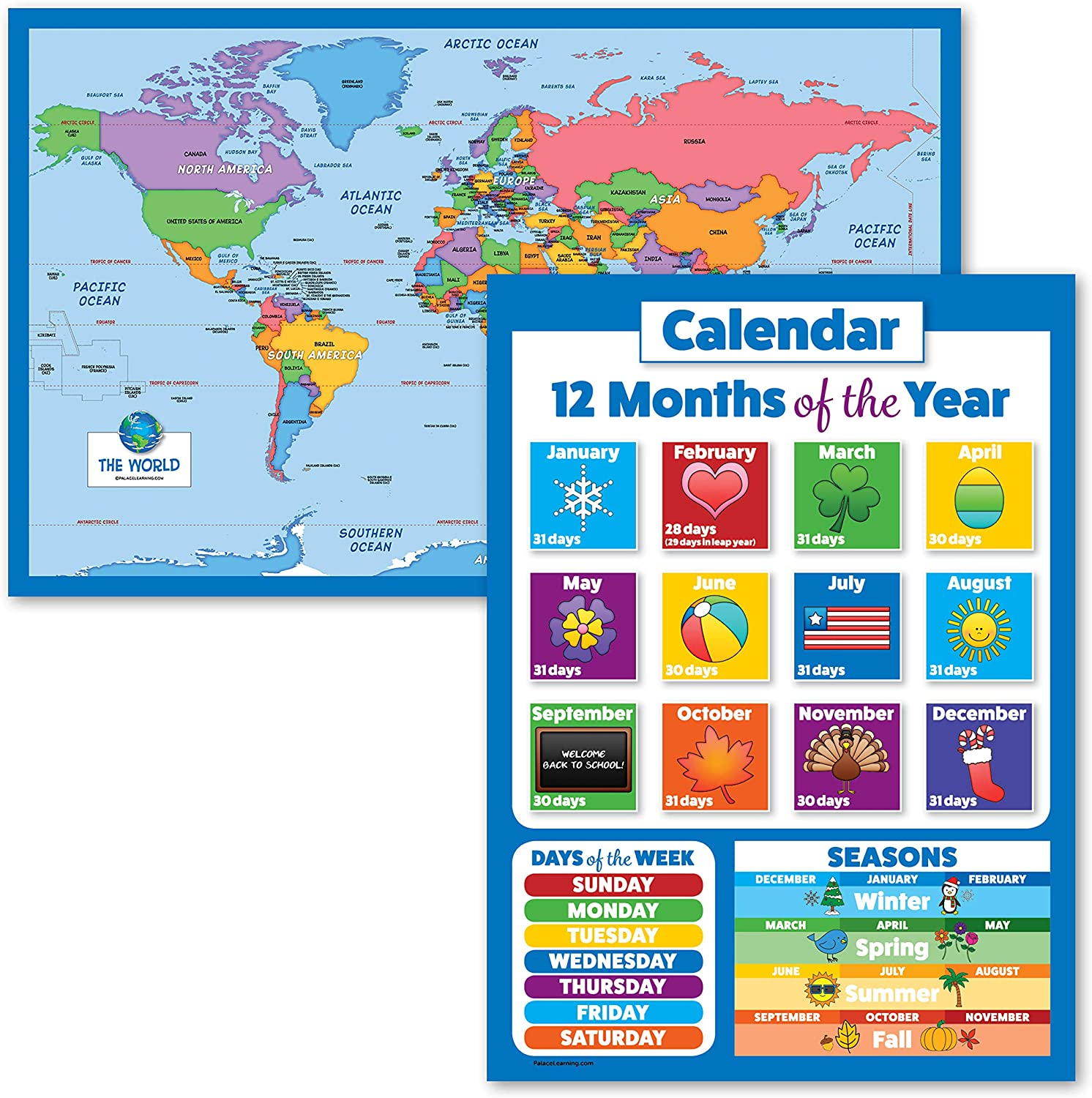 2 Washington Mall Pack - World Map for Kids + Week Months and Days The of Cheap SALE Start