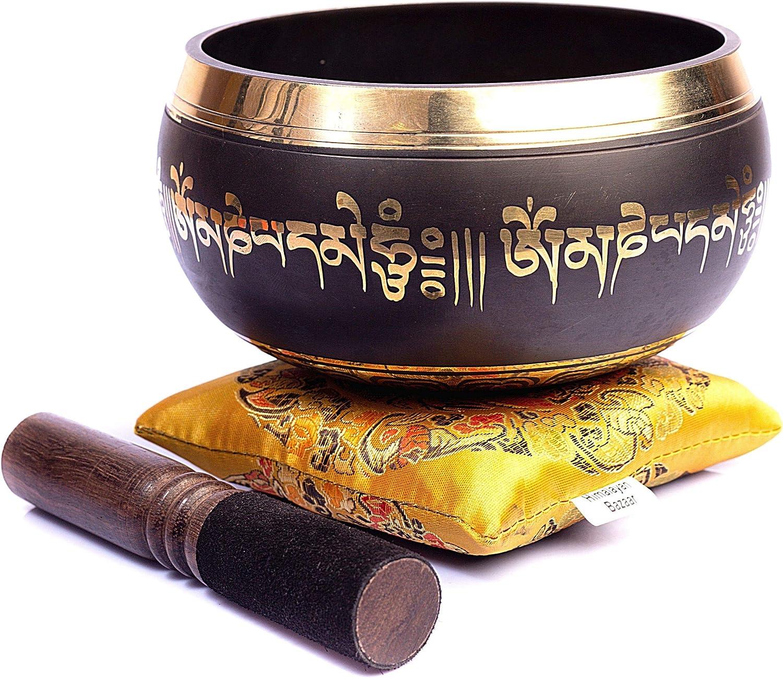 Himalayan Bazaar - Cuenco tibetano de mantra con mazo de madera y cojín