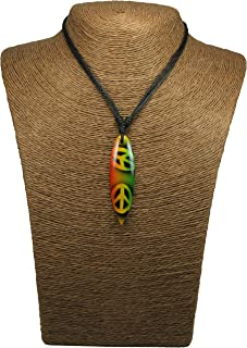 Wood Surfboard Necklace -Hawaiian Necklace-Surfboard Pendant-Surfer Neclace-Tiki Necklace-Yin Yang Necklace Wooden Surfboard Necklace