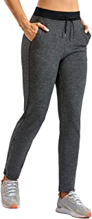 CRZ YOGA Women's Joggers Casual Cotton Sweatpants Zipper Leg Training Pants with Pockets