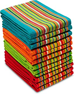 COTTON CRAFT 12 Pack Salsa Stripe Multi-Color Kitchen Towels 16×28 Inches- 100% Cotton
