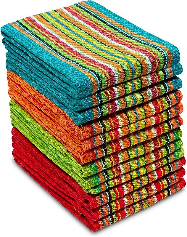 COTTON CRAFT 12 Pack Salsa Stripe Multi Color Kitchen Towels 16x28 Inches 100 Cotton