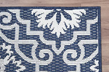 "PRIYATE Florida Collection – Moro Tile Indoor/Outdoor Area Rug | Anti-Skid, Kids Friendly Floor Carpet for Living Room, Dining Room, Office Space, Foyer, Patio and More – Navy Blue (7'10"" X 10')"