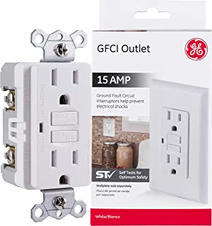 GE GFCI 3 Prong Outlet, Easy Install, Internal Automatic Self-Testing, Reset & Test Buttons, 15A, 120V AC Max, 20A Protection, White, 32073