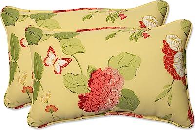 """Pillow Perfect Outdoor/Indoor Risa Lemonade Lumbar Pillows, 11.5"""" x 18.5"""", Gold, 2 Pack"""