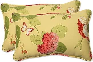 Pillow Perfect Outdoor Risa Corded Rectangular Throw Pillow, Lemonade, Set of 2