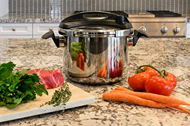 Barton Turbo 8 Quart Easy-Lock Lid Pressure Cooker Stove Induction Compatible, Stainless Steel