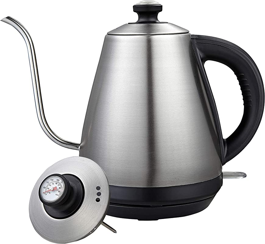 Pour Over Coffee Kettle With Built In Thermometer Fast Boil 1 0L Gooseneck Drip Coffee Kettle Stainless Steel Stovetop Teapot Auto Shut Off Strix Control