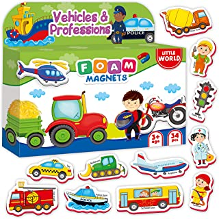 34 Foam Magnets for Kids VEHICLES, TRUCKS, PROFESSIONS – Kid Magnets for Refrigerator – Baby Magnets for Fridge – Refrigerator Magnets for Toddlers Babies Children – Toddler Magnets age 1 2 3 old boys