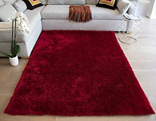 LA Shag Shaggy Hand-Woven Hand-Tufted Solid Decorative Designer Modern Contemporary Plush Pile Canvas Backing 8-Feet-by-10-Feet Polyester Made Area Rug Carpet Rug Red Color