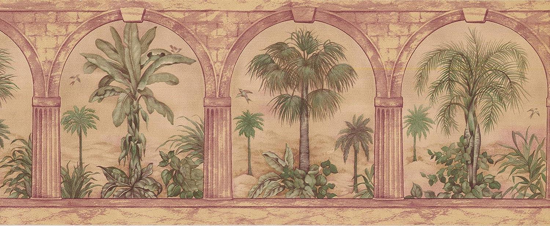 Wallpaper Border Trees Direct stock discount Green Beige Pink Great interest Antique