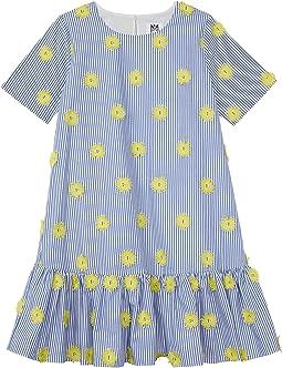 Pom-Pom Embroidery Stripe T-Shirt Dress (Big Kids)