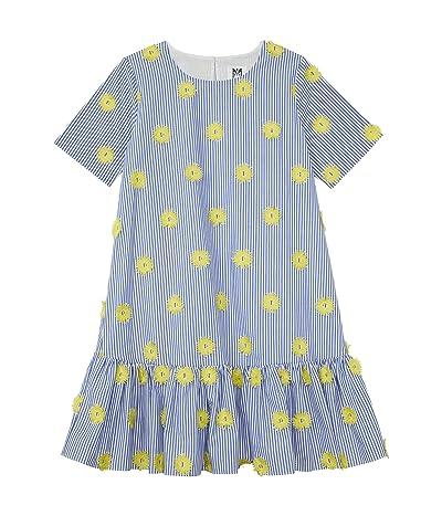 Milly Minis Pom-Pom Embroidery Stripe T-Shirt Dress (Big Kids) Girl