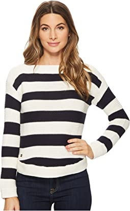 LAUREN Ralph Lauren - Striped Cotton Boat Neck Sweater